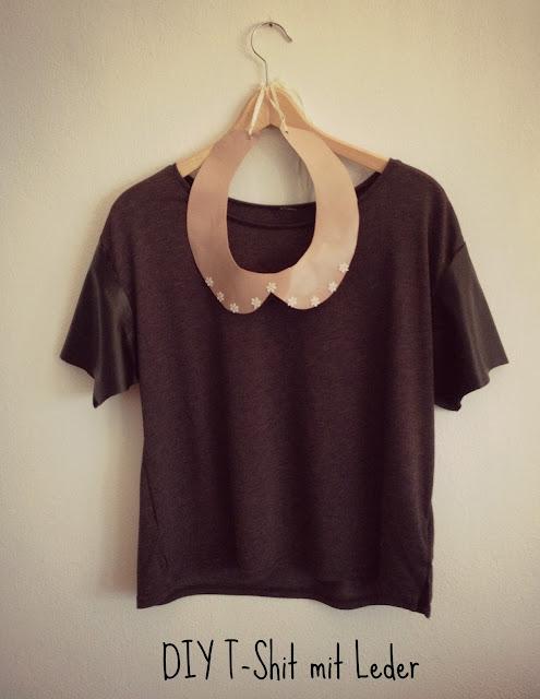 DIY T-Shirt mit Lederärmeln