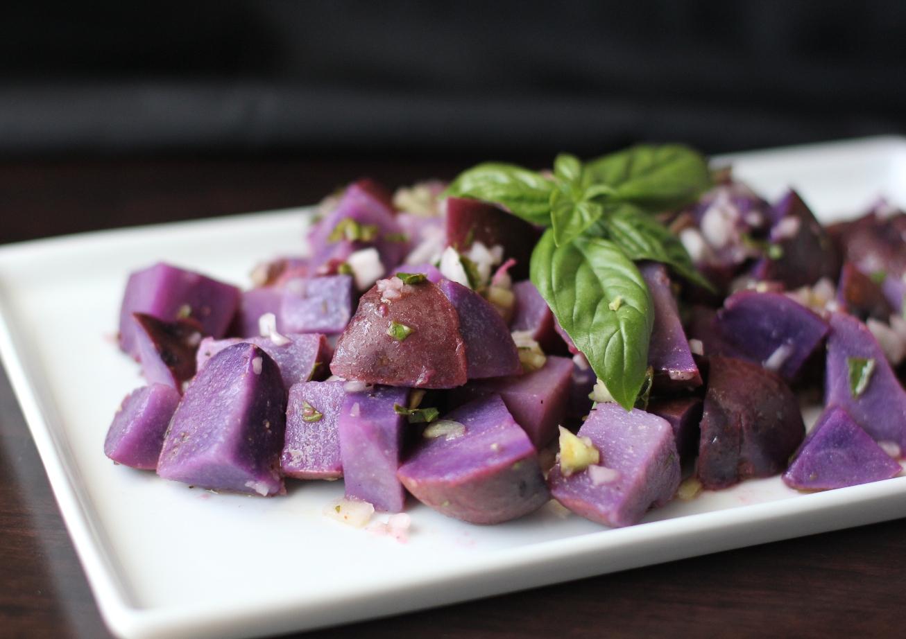 Blue Potato Salad with Lemon Basil Vinaigrette Recipe | Fake Food Free