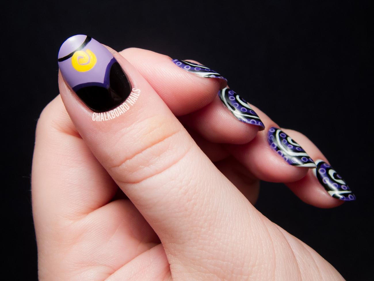 The Disney Diva - Ursula Nail Art | Chalkboard Nails | Nail Art Blog