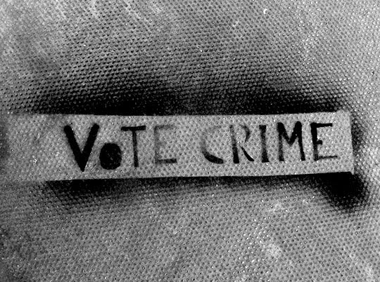 vote crime, urban photography, contemporary, photo, art, black and white