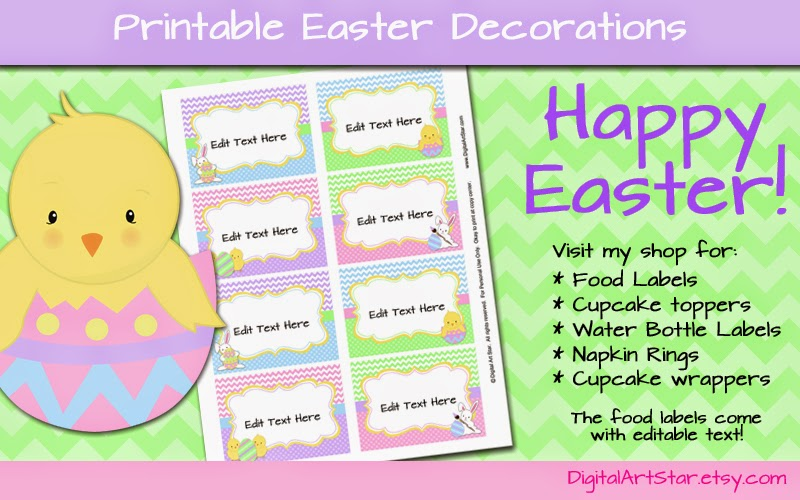 Visit Digital Art Star for printable Easter decorations including food labels, cupcake toppers, water bottle labels, napkin rings, and candy wrappers.