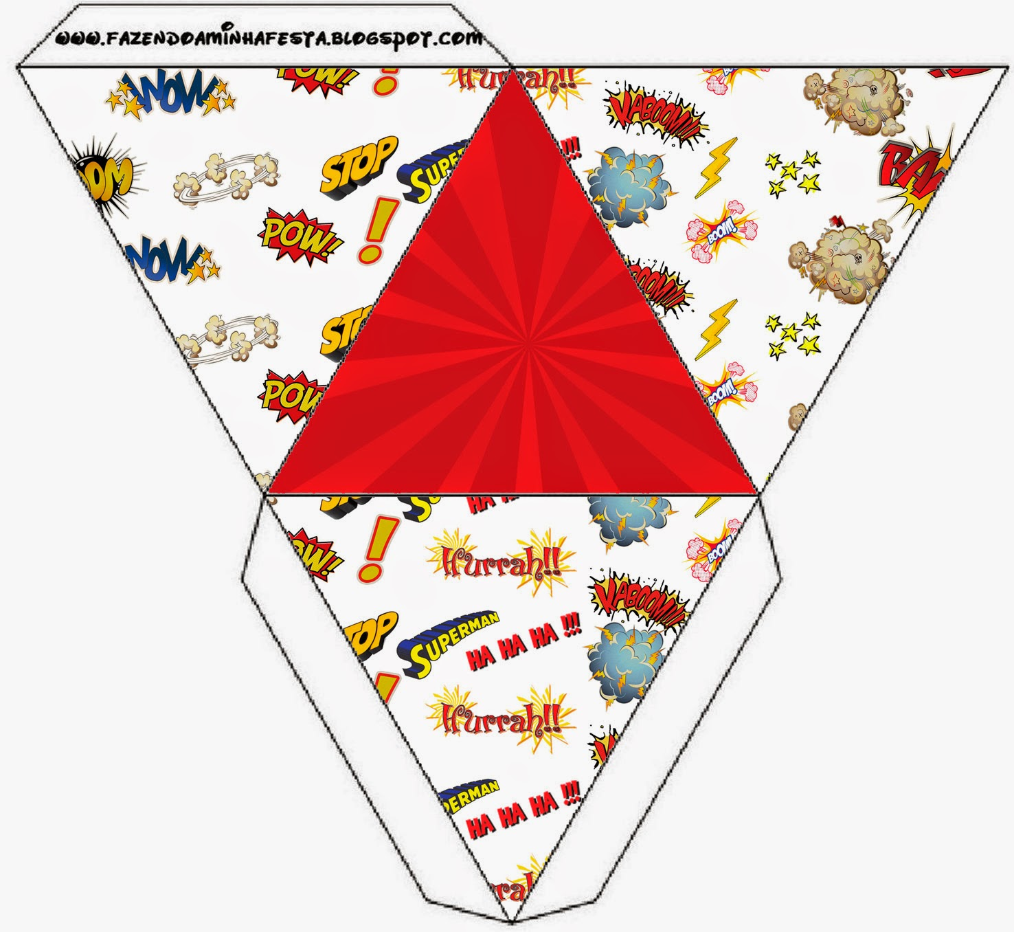 Caja con forma de pirámide.