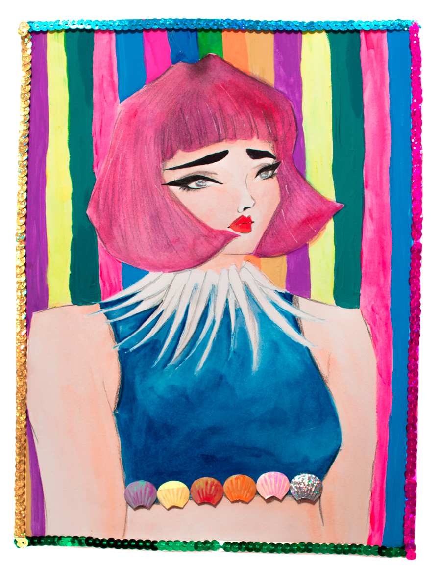 Sita Abellan - pink hair with short bangs - fashion illustration. Used watercolors, gouache and sequins. By Rosa Martin (www.rosemarynotes.com)