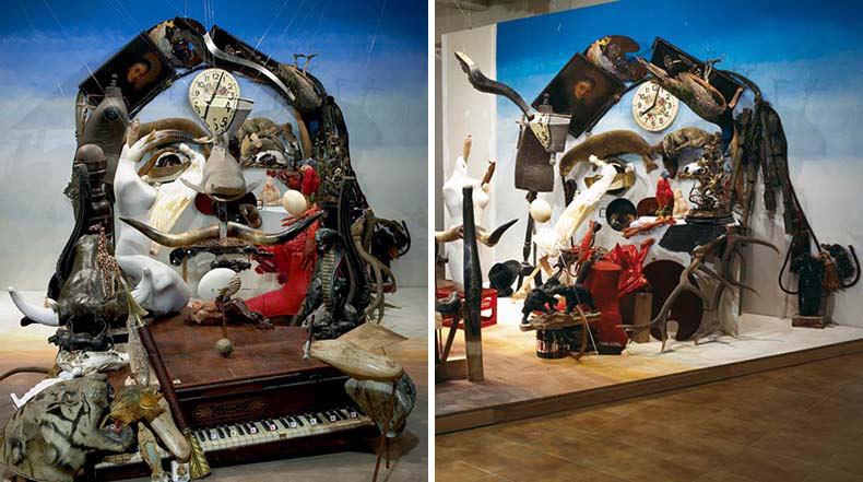 Instalaciones anamórfica a partir de objetos al azar por Bernard Pras