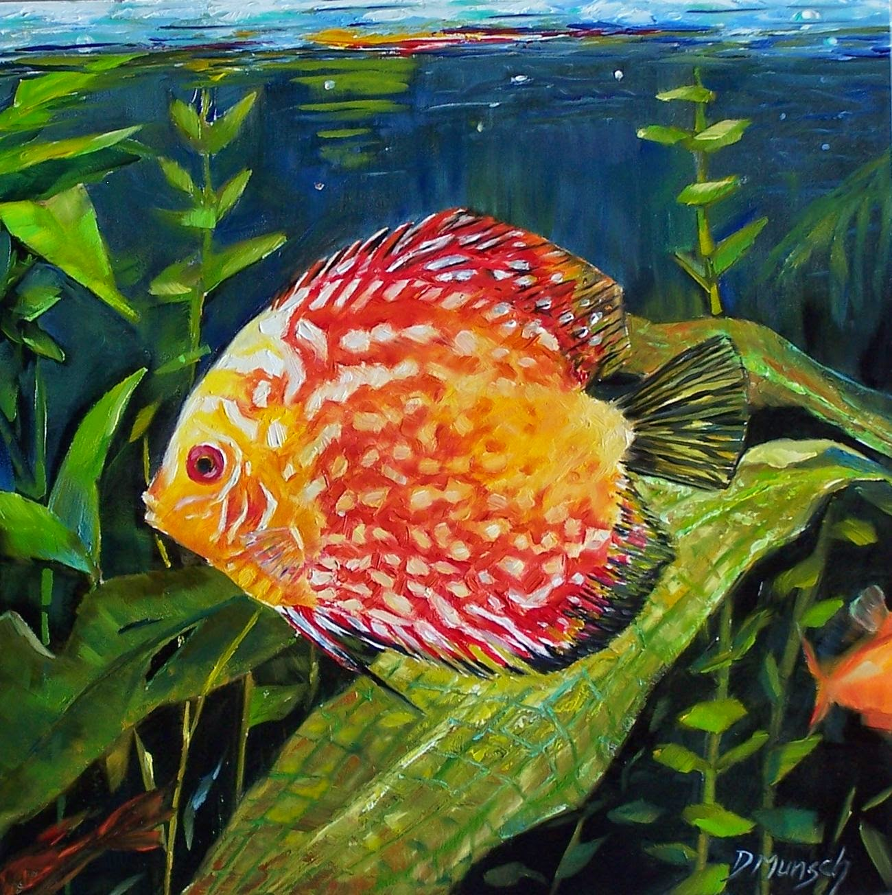 Donna munsch fine art original oil painting spotted for Tropical fish painting