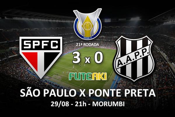 Veja o resumo da partida com os gols e os melhores momentos de São Paulo 3x0 Ponte Preta pela 21ª rodada do Brasileirão 2015.