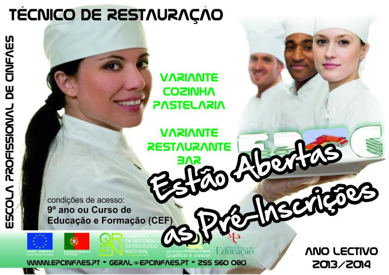 Cursos profissionais (cozinha/pastelaria e restaurante/bar) em Cinfães