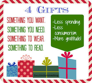 something you want something you need something to wear and something to read, simplified Christmas, budget Christmas ideas, american consumerism Christmas