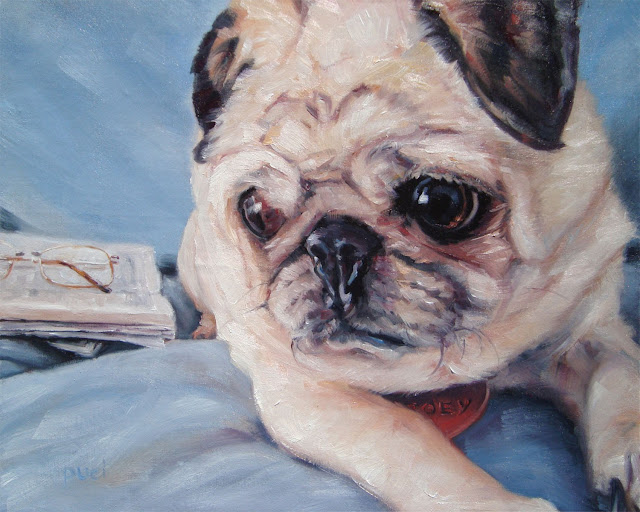 custom pet portrait painting of Pug Zoey looking to her right, newspaper and reading glasses nearby.