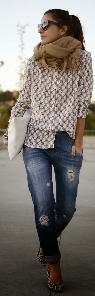 Stylish ripped jeans, cheetah flats, blouse and scarf for fall