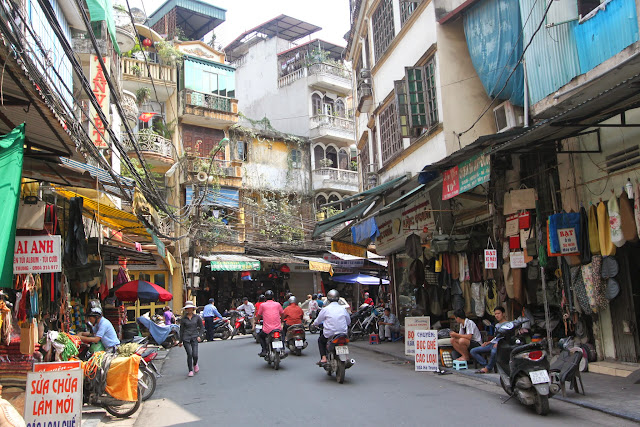 Hanoi Old Quarter is surrounded by craft work businesses, food, hotels and shopping area along the 36 Old Streets in Hanoi, Vietnam