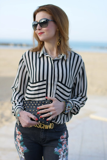 Romwe striped shirt, Moschino belt, Zara studded clutch