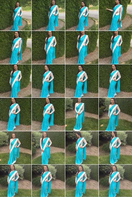 designer saris, ananya in a blue sari, different ways to style a sari, sari with full sleeves  blouse