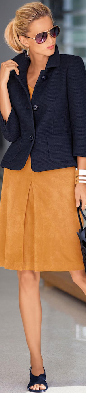 Madeleine Navy Blazer and Leather Skirt