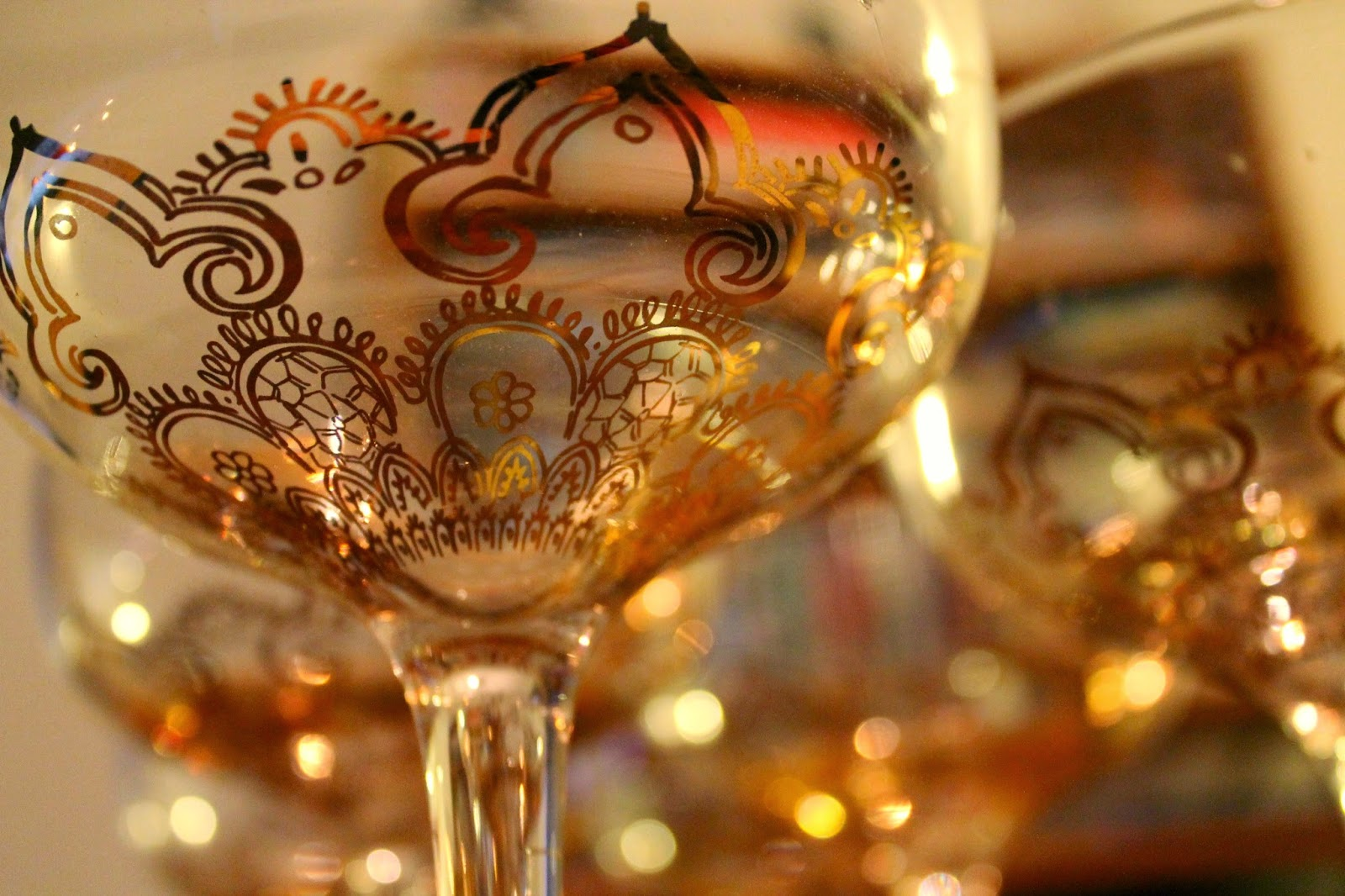 vintage and oriental styled champagne glasses with beautiful golden details