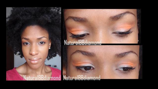 Maquillage Fun et coloré  Beige brillant et Orange pour les yeux / Lèvres nudes pailletées