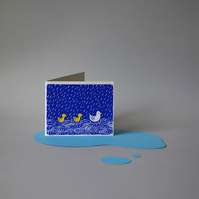 Handmade Silk-Screened Greeting, Ducks illustration