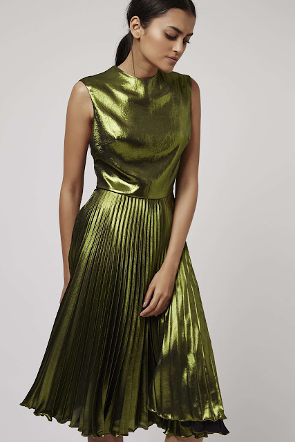 topshop green pleated dress, metallic green dress,