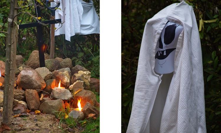 Spøgelser, kors og havefakler til en grusom halloween udenfor