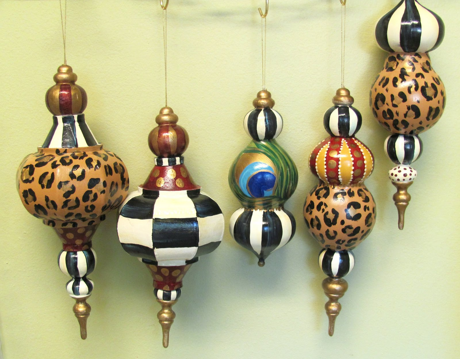 hand painted whimsical animal print ornaments