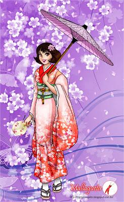 Monica usando kimono, sombrinha e leque