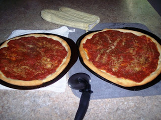 pizza out of the oven