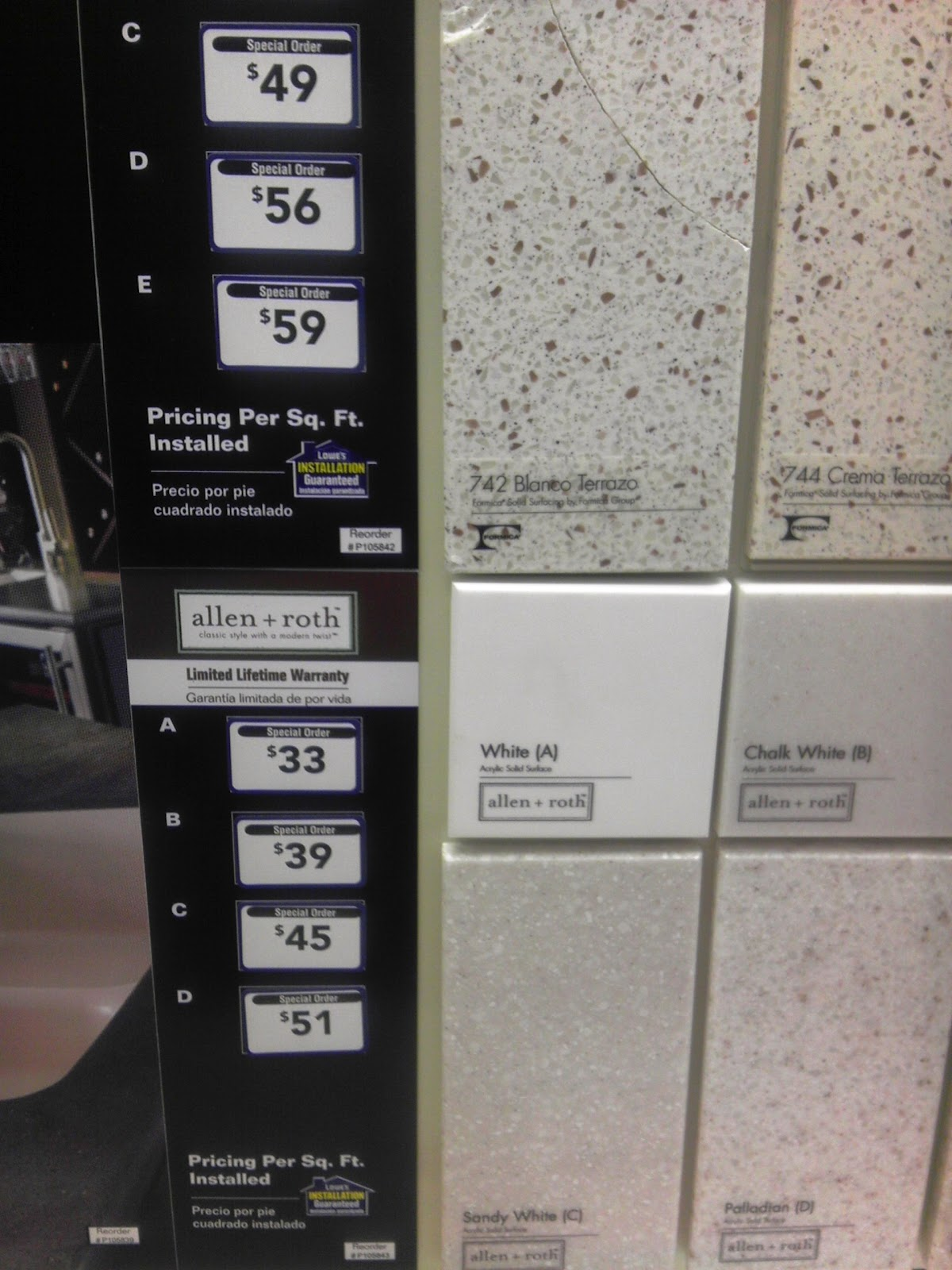 Counter samples home depot center -  Allen Roth Pricing The White Counters I Like Are 33 00 A Square Foot I Need To Do Some Research On The Warranty But The Total Would Be 825 00