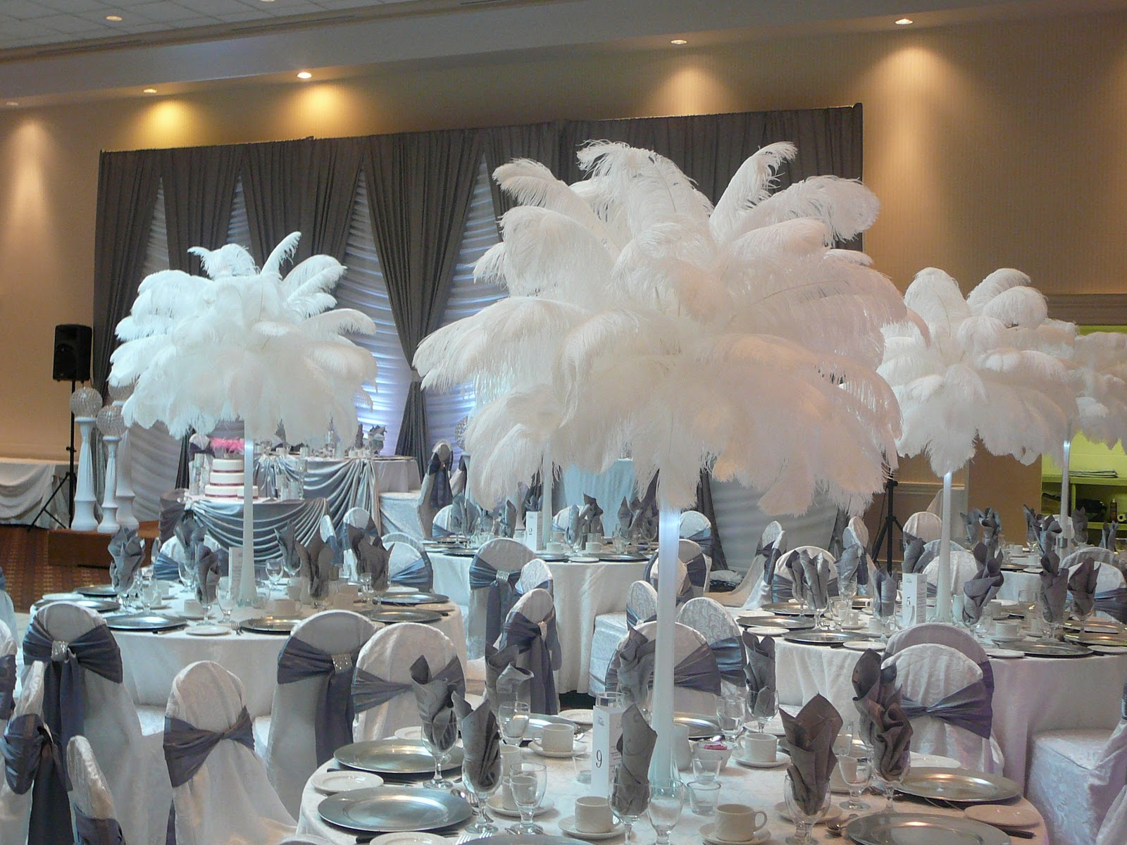 White Ostrich Feather Centerpieces