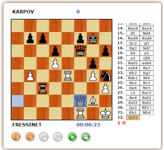 La position finale de la dernière partie d'échecs et l'abandon d'Anatoly Karpov