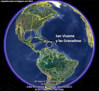 Mapa de San Vicente y las Granadinas en El Mundo, Google Earth