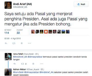 "isaat ekonomi Indonesia kian terpuruk, pemerintahan Presiden Jokowi malah mau menghidupkan lagi pasal penghinaan terhadap presiden yang sebelumnya sudah dihapus oleh Mahkamah Konstitusi.  Tentu publik langsung bereaksi keras. Mereka menyatakan dikembalikannya pasal penghinaan presiden merupakan tanda kembalinya era Orde Baru yang sangat represif dan otoriter. Padahal pasal ini sudah dihapus oleh MK tahun 2006 saat era Presiden SBY.  Andi Arief, mantan staf khusus Presiden Susilo Bambang Yudhoyono Bidang Bantuan Sosial dan Bencana menanggapi upaya pemerintahan era Jokowi untuk memberlakukan kembali pasal Penghinaan Presiden yang sebelumnya sudah dihapus Mahkamah Konstitusi.  ""Saya setuju ada Pasal yang menjerat penghina Presiden. Asal ada juga Pasal yang mengatur jika ada Presiden bohong,"" ujarnya melalui akun twitter @AndiArief_AA, Selasa (4/8/2015).  Banyak netizen mendukung Abdi Arief. Mereka juga menulis jika Presiden berbohong maka itu berarti menghina rakyat dan layak dihukum. ""Biar fair,"" ujar salah satunya. [*]"