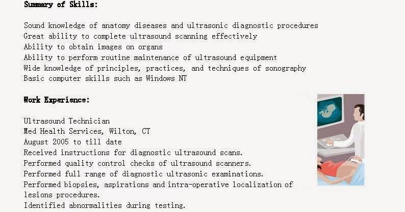 Resume technician ultrasound