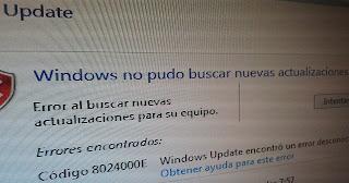 Error windows update código: 8024000E