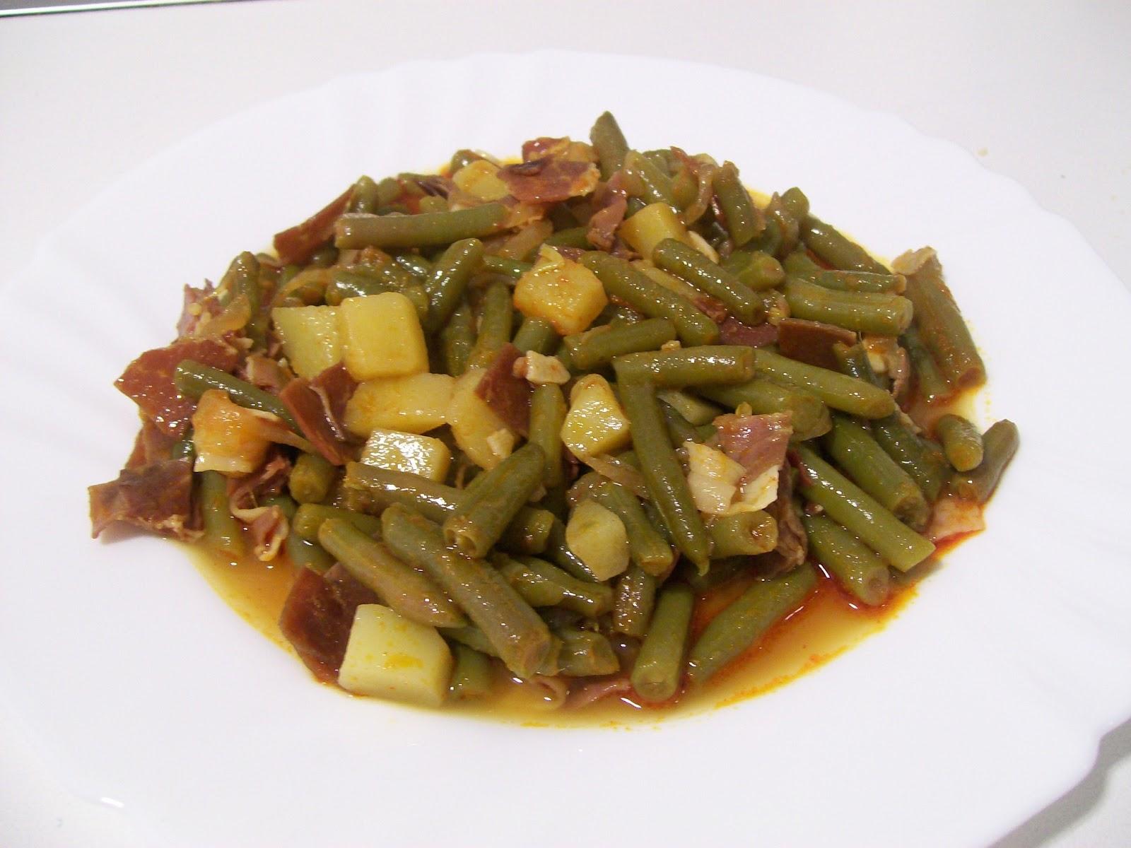 Las recetas de pepejo jud as verdes con jam n serrano y - Judias con chorizo y patatas ...