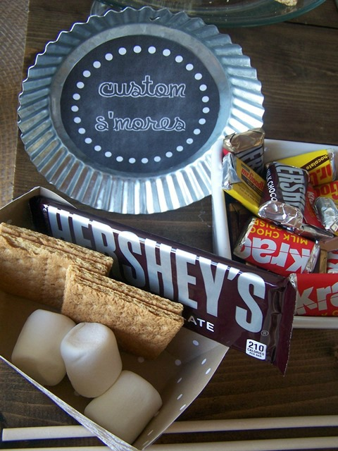 Chocolate bars, miniature chocolate, marshmallows and grahams.