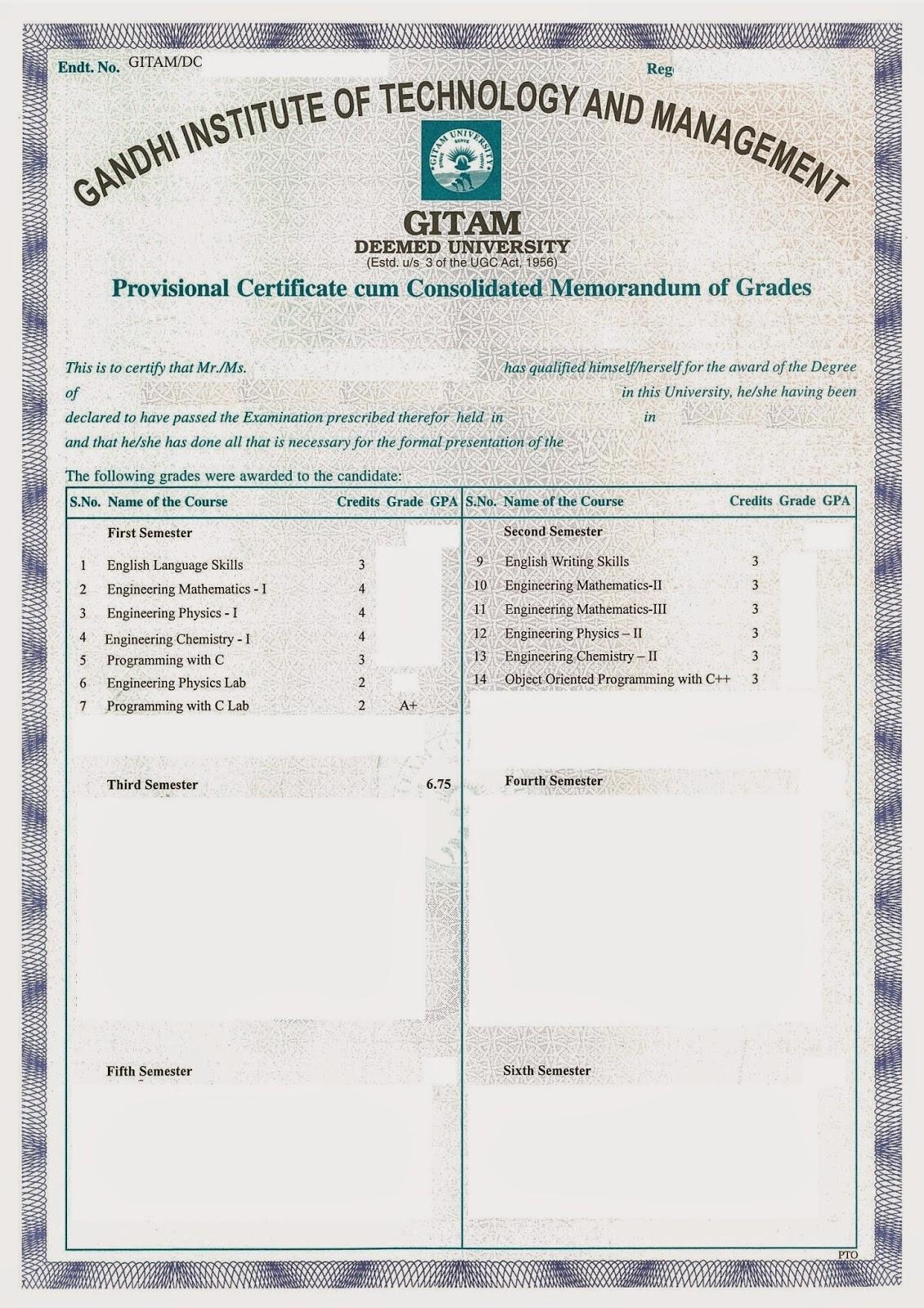 Gitam Certificates Provisional Certificateconsolidated Memo