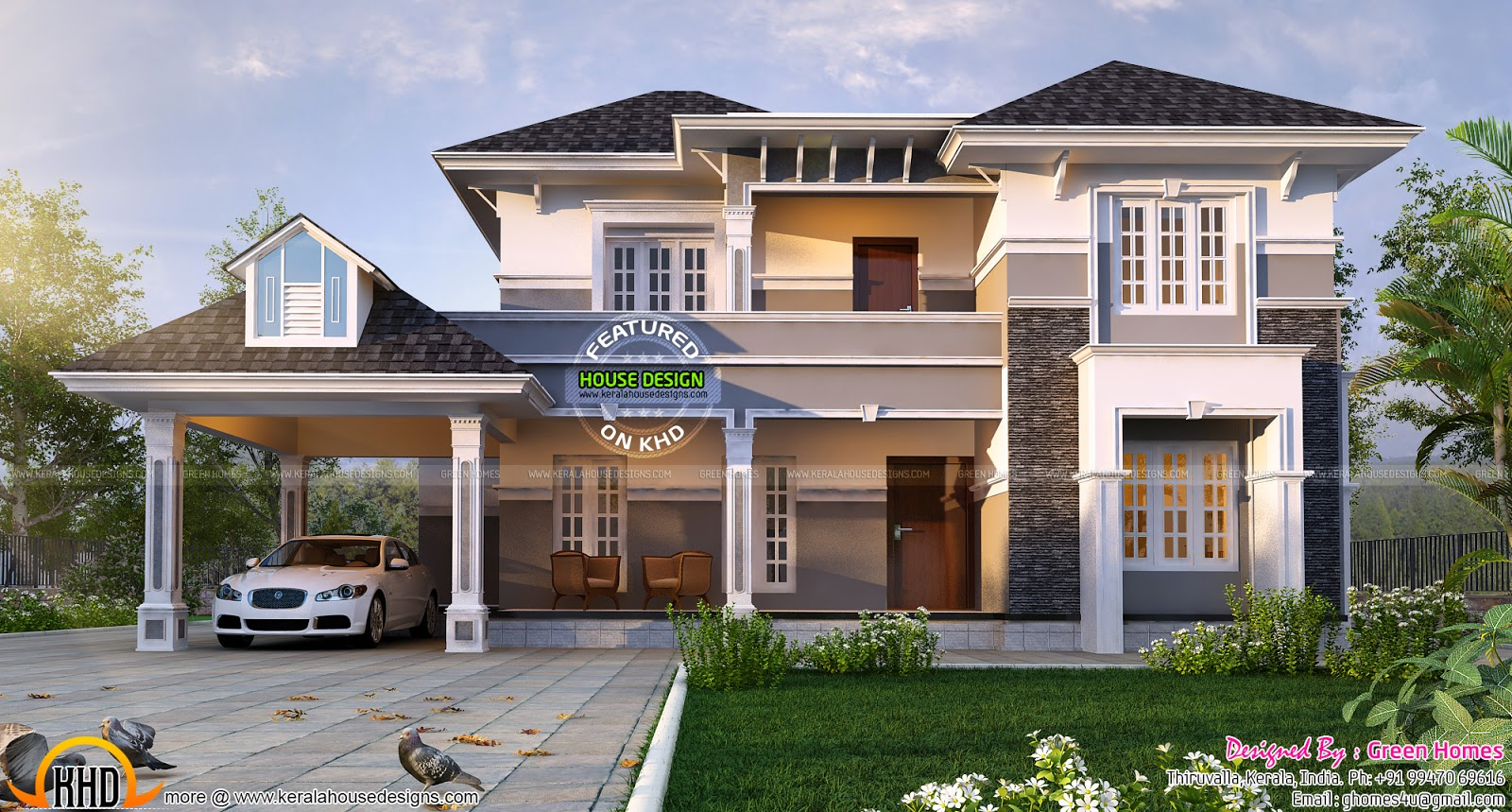 2450 sq ft elegant home plan kerala home design and for Elegant farmhouse plans