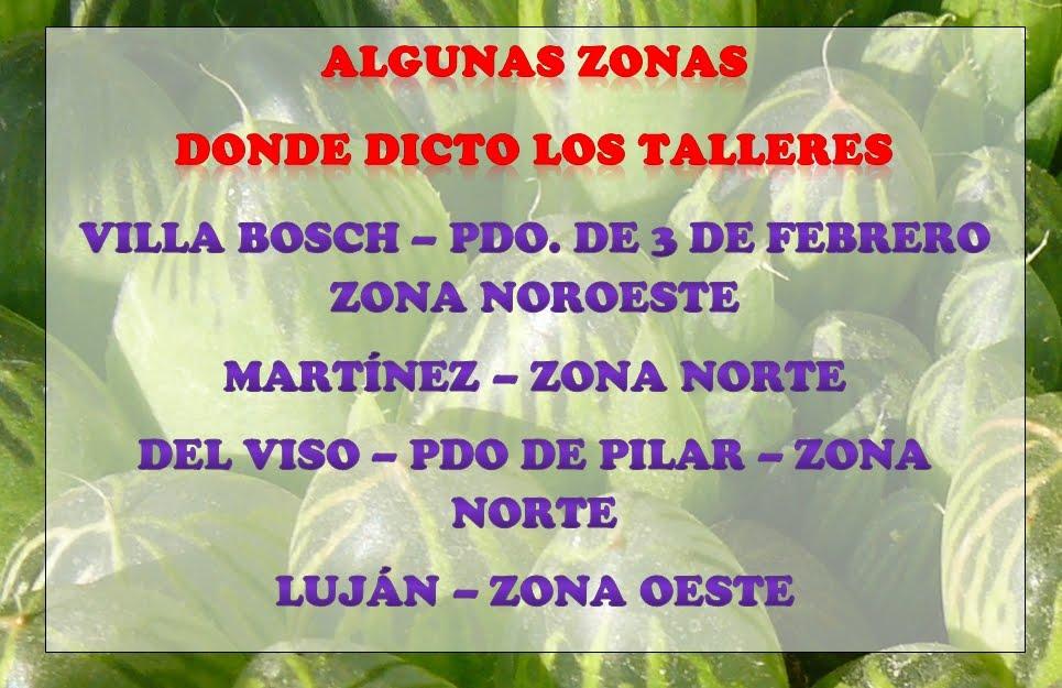 ZONAS DONDE DICTO LOS TALLERES DE CULTIVO ORGANICO DE CACTUS Y SUCULENTAS NC