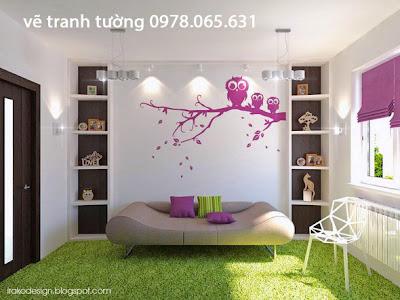 Vẽ tranh tường phòng ngủ đẹp