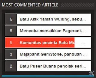 Majalah Blog, Most Commented Article