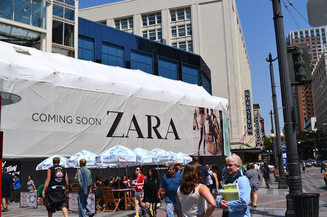 seattle, downtown, shopping, zara, westlake center