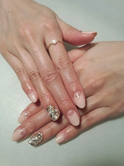 This-is-clear-extensions-for-a-bit-of-length-then-a-LED-polish-manicure-in-French-Reverse-with-gold-finger-feats-with-pearls-and-crystals-Pedicure-Gel-Nails-Polish--LED-Nails-Acrylic-Nails-Nail-Art