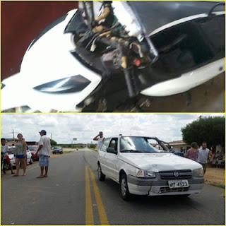 Acidente entre carro e moto na entrada de Nova palmeira deixa um adolescente ferido