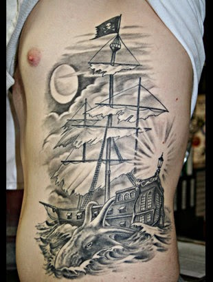 Art and tattoo ship for Pirate tattoo meaning
