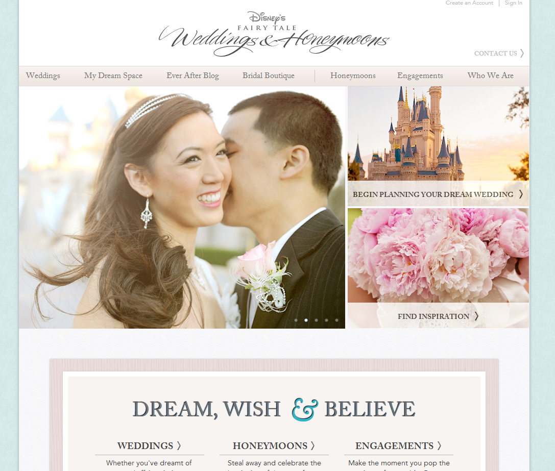 The new and improved disney 39 s fairy tale weddings website Planner websites