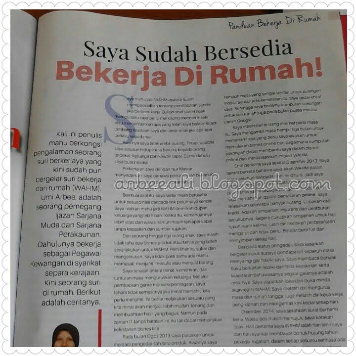 Kisah WAHM saya dalam Majalah Mingguan Wanita 17-23 April 2015