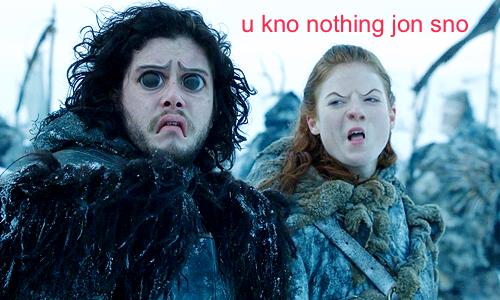 Ygritte y Jon caras raras - Juego de Tronos en los siete reinos