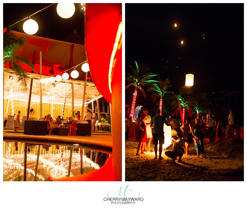 Beach Republic Wedding, night decorations, letting off lanterns, beautiful lighting and ambiance and Beach Republic, Koh Samui, amazing wedding in Thailand