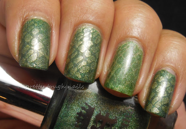 #31DC2013 Green - A England Dragon Subtle Snake Print Stamping