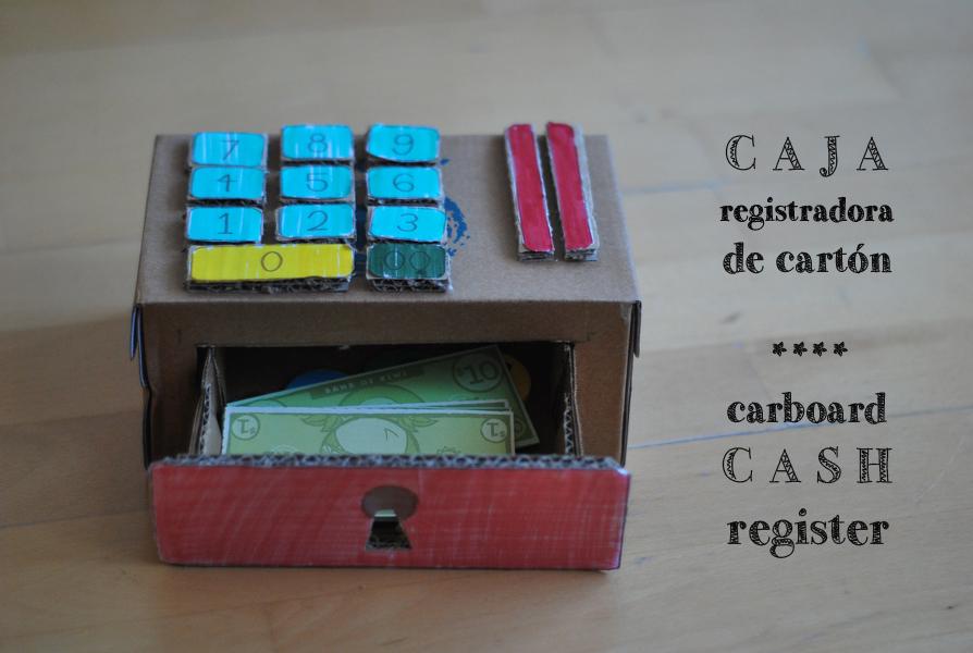 caja registradora cartón cardboard cash register